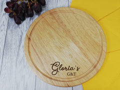 Personalised Engraved Wooden Round G&T Gin Chopping board