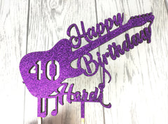 Personalised wooden birthday Music Guitar cake topper Any name 16 18 21 30 40