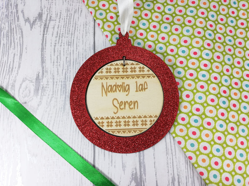 Personalised engraved wooden Welsh First Christmas bauble glitter Nadolig 1af