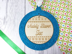 Personalised engraved wooden Welsh Christmas bauble glitter Nadolig Llawen