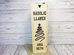 Personalised Welsh Christmas Nadolig Llawen Colour Changing Light up box Cut out Any Name