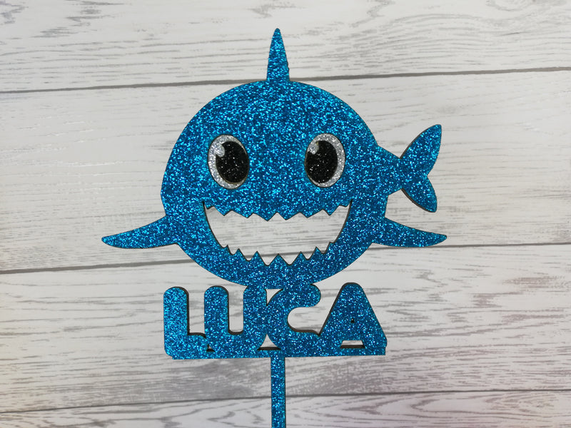 Personalised wooden birthday Glitter Baby Shark cake topper Any name
