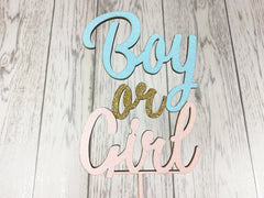 Personalised wooden Glitter Baby Boy or Girl cake topper