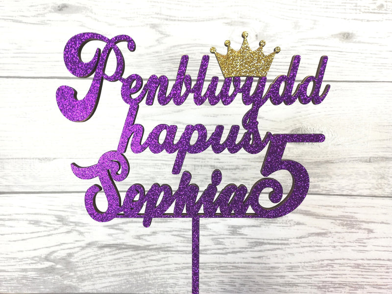 Personalised wooden Glitter birthday Welsh Princess Penblwydd Hapus age cake topper Any name Any Age