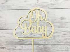 Personalised wooden Glitter Oh Baby cloud cake topper  New Baby Baby shower Gender reveal Any colour