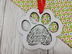 Personalised wooden Welsh Nadolig llawen Paw Pet Christmas bauble glitter colours