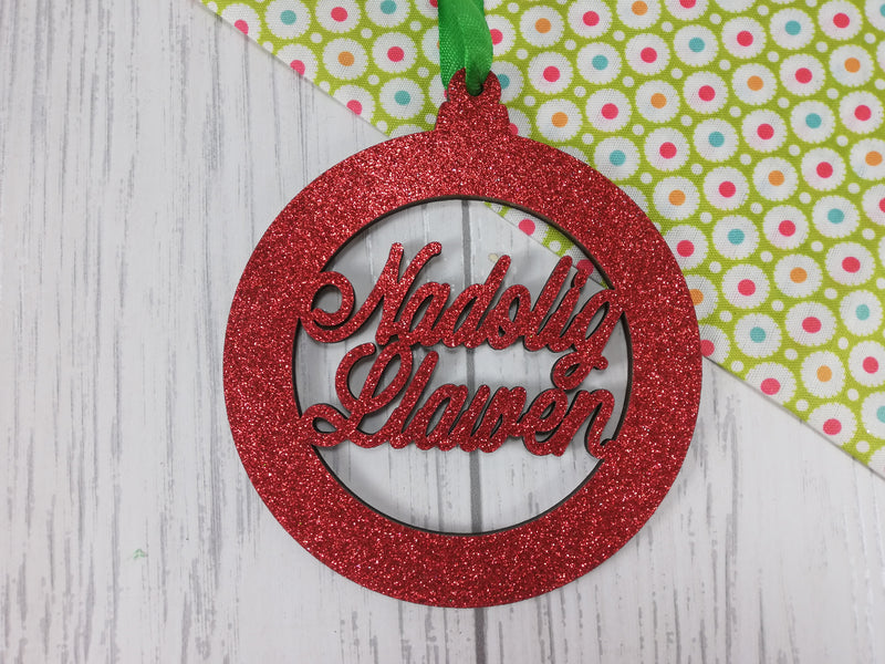 Personalised wooden Welsh Nadolig llawen Christmas bauble glitter colours
