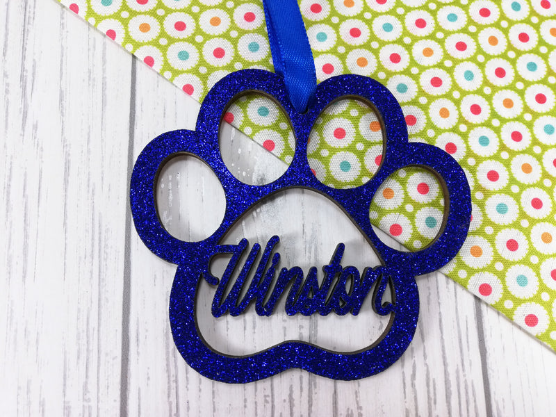 Personalised wooden Glitter Paw Pet Christmas bauble with Name