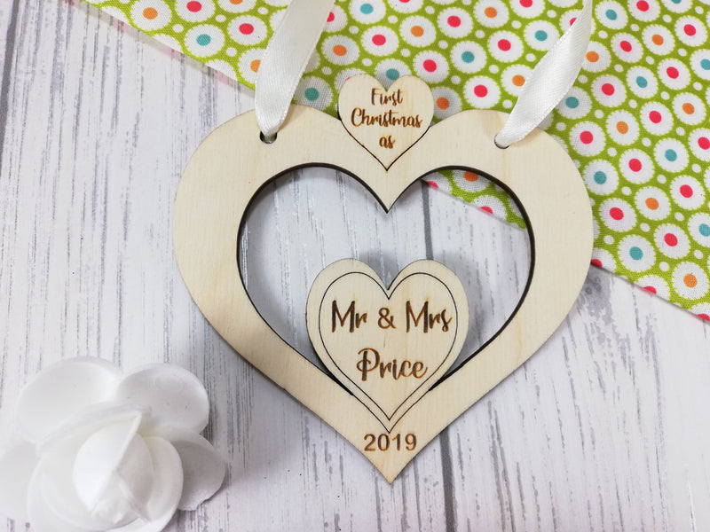 Personalised wooden Heart First Christmas as Mr & Mrs bauble