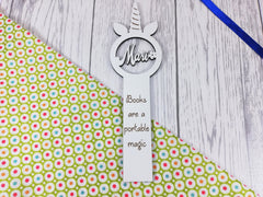 Personalised White unicorn Bookmark Any Name Any Message