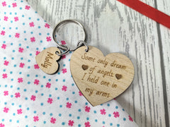 Personalised Wooden Remembrance Heart with name Keyring Some only dream of angels  Key ring