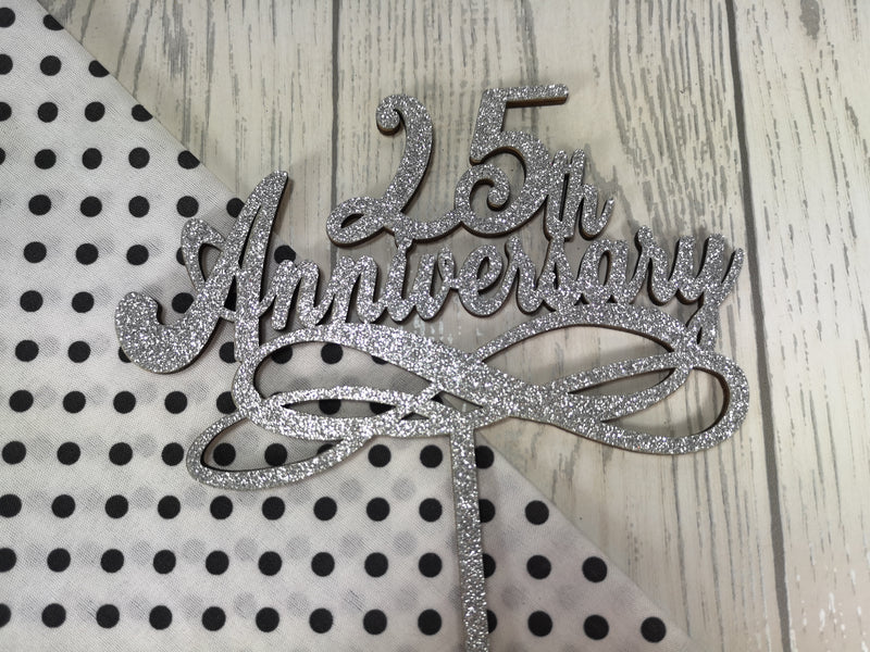 Personalised wooden anniversary cake topper 25th 30th 40th 50th 60th