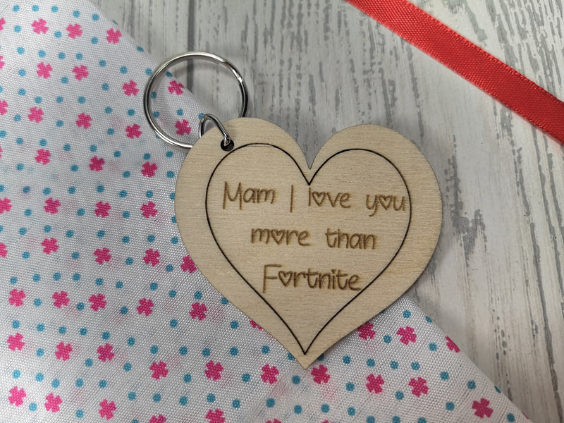 Personalised Wooden Heart Mum I love you more than ... Game Keyring