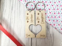 Personalised Wooden Double Like mother Like daughter Key ring Keyring