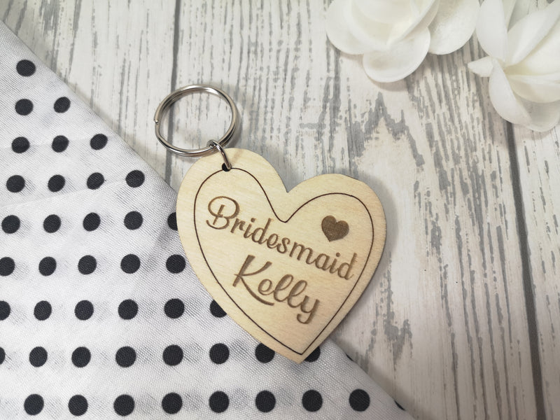 Personalised Wooden heart Bridesmaid Key ring Keyring