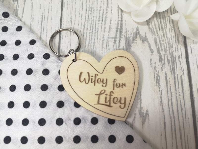 Personalised Wooden heart Wifey for lifey wedding anniversary Key ring Keyring