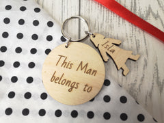 Personalised Wooden circle with boy and girl figures Keyring This Man belongs to.. key rings