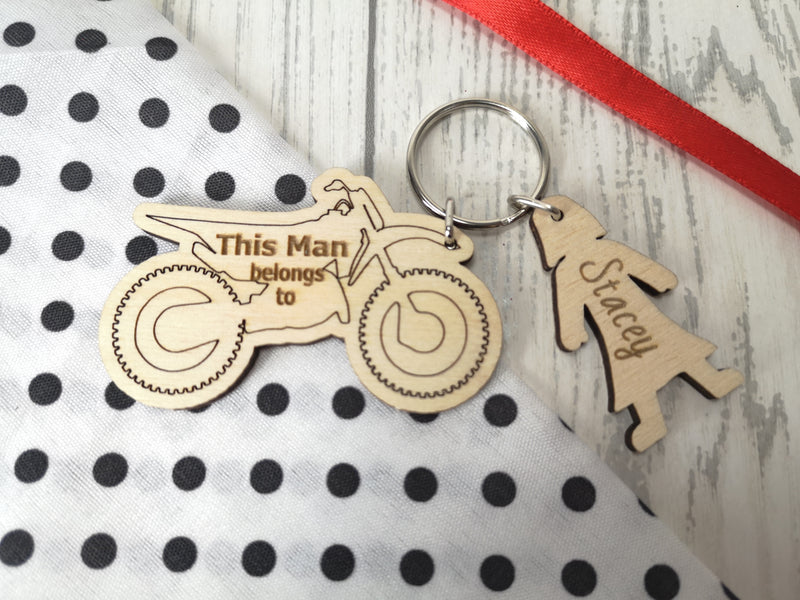 Personalised Wooden motorcross bike with figures Keyring This Man belongs to.. key rings