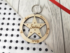 Personalised Wooden Star Sisters or Brothers Keyring Any names