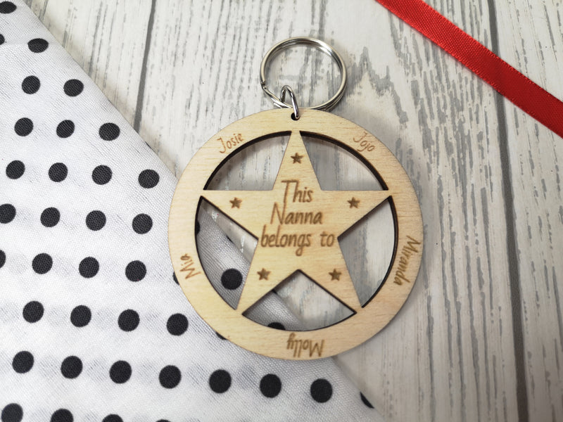 Personalised Wooden Star This mum belongs to Keyring Any names