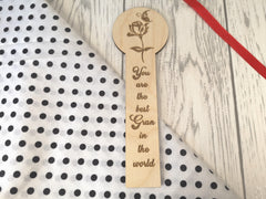 Personalised Wooden Flower Best Gran Mum Bookmark Any Name