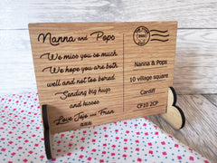 Personalised Engraved oak veneer We miss you Postcard isolation keepsake