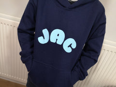 Personalised Kids Navy hoodie with name detail for Boys and girls
