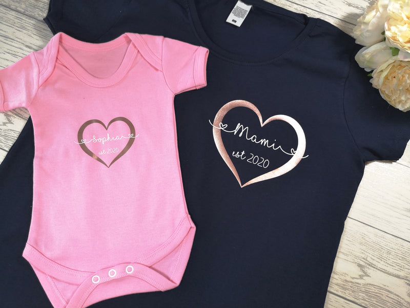 Personalised Matching Mother and Baby T-shirt and baby grow vest