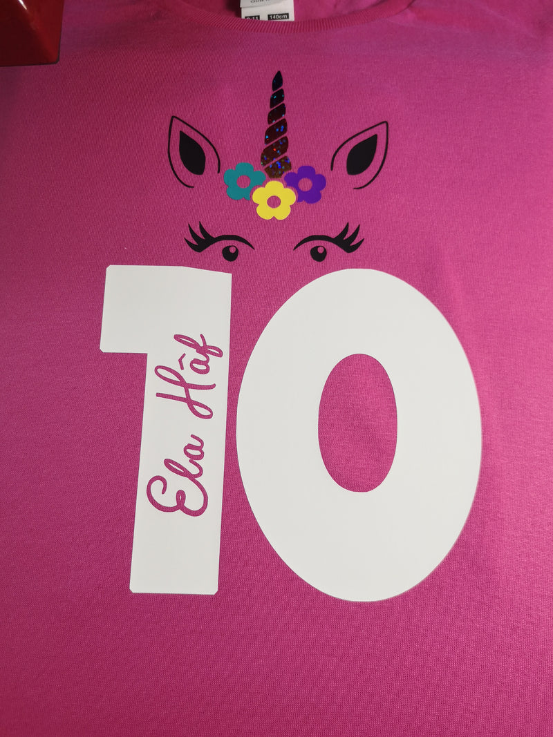 Personalised Kids Birthday Age Hot Pink custom t-shirt with Unicorn detail