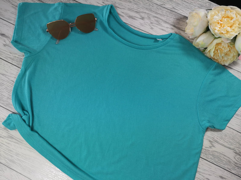 Custom Women's cropped t-shirt neon coral or blue with Classy sassy detail