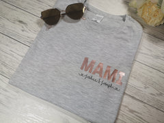 Personalised Women's grey t-shirt with Name and kids names
