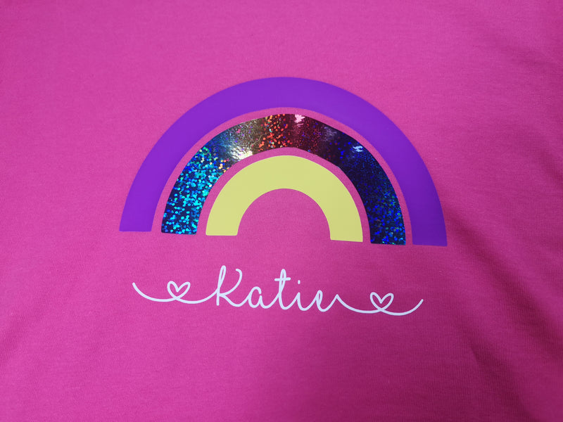 Personalised Rainbow kids Hot pink custom t-shirt