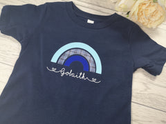 Personalised Rainbow kids Navy custom t-shirt