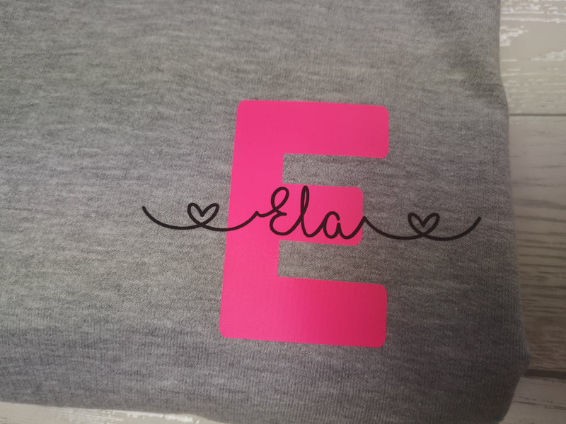 Personalised Womens Grey hoodie with letter and name detail No pocket