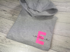 Personalised Kids Grey hoodie with letter and name detail for Boys and girls