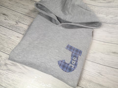 Personalised Kids Grey hoodie with Bold letter name detail for Boys and girls