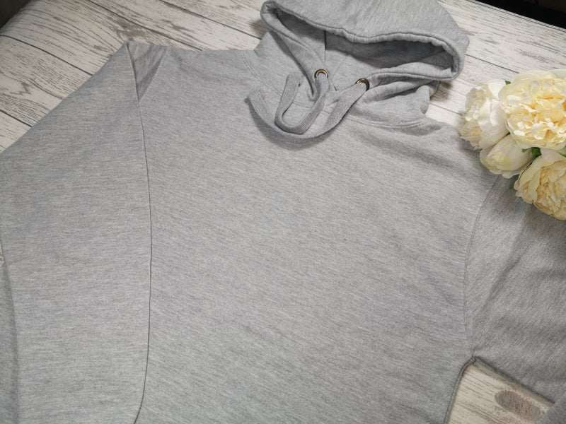 Personalised Womens Grey hoodie with Name & kids names detail No pocket