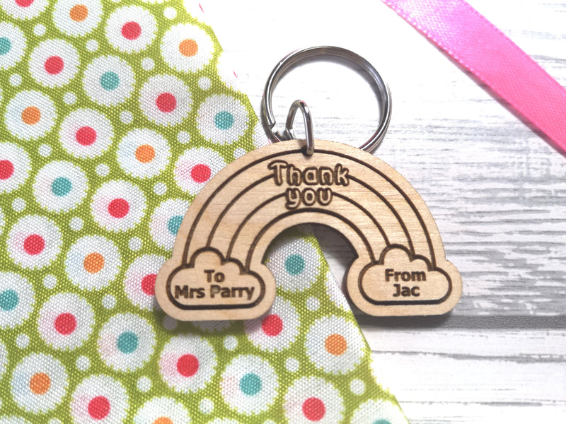 Personalised Wooden Rainbow Teacher Thank you Gift Key ring