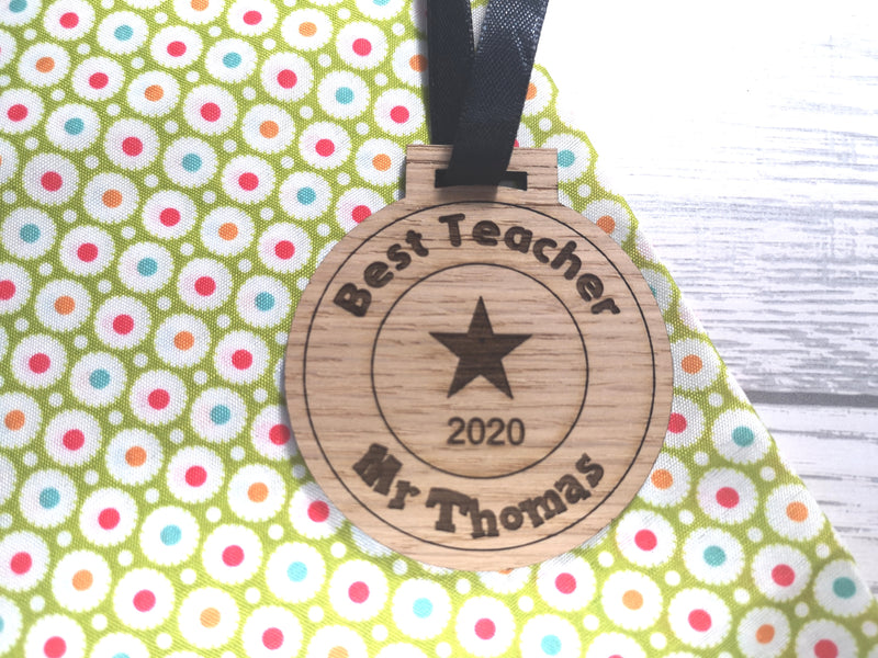 Personalised oak Best teacher medal 2020 gift
