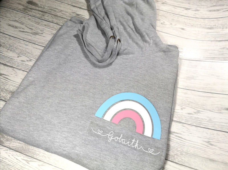 Personalised Womens Grey hoodie with pastels Rainbow and name or phrase detail No pocket