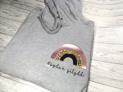 Personalised Womens Grey hoodie with leopard Rainbow and name or phrase detail No pocket
