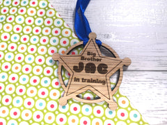 Personalised oak new Big Brother / sister in training star medal