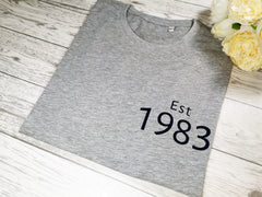Personalised Women's Grey birth year t-shirt  with choice of colour detail