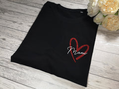 Personalised Women's Black t-shirt with glitter heart and Name