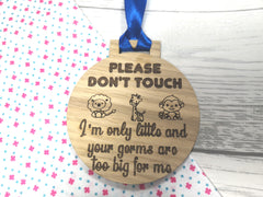 Custom oak Baby pram hanging sign Please don't touch gift
