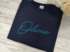 Personalised Kids Birthday Name Navy custom t-shirt with choice of colour detail