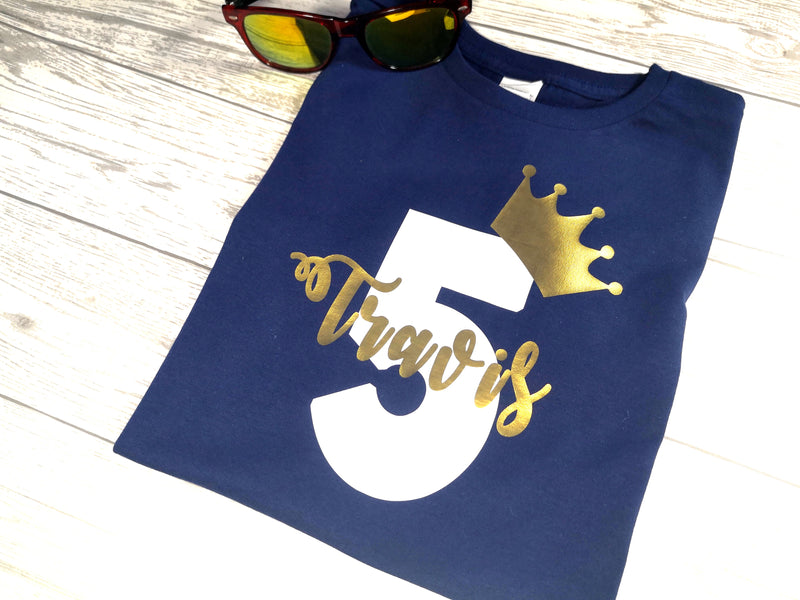 Personalised Kids Birthday Age Navy custom t-shirt with gold crown detail
