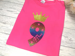 Personalised Kids Birthday Age Hot pink custom t-shirt with Princess crown
