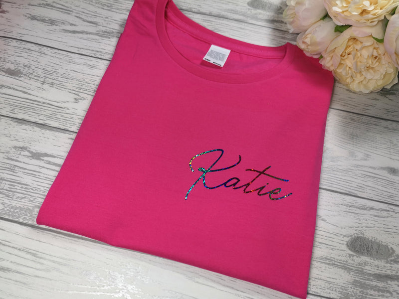Personalised Kids Birthday Name Hot pink custom t-shirt with choice of colour detail