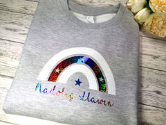 Custom KIDS Welsh GREY Christmas RAINBOW Nadolig Llawen jumper